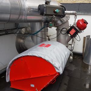 IQR-system til flammeløs eksplosionsaflastning og kemisk eksplosionsundertrykkelse: Monteret