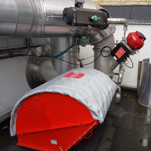 Explosion Suppression System with IQR flameless venting: Mounted: