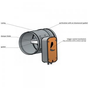 Enkeltblads lavmodstands cut-off brandspjæld til komfortventilation: Model FID PRO - Designillustration