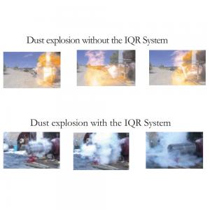 Støv eksplosion uden og med IQR-systemet