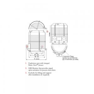 Teknisk tegning af IQR-systemet for flammeløs eksplosionsaflastning